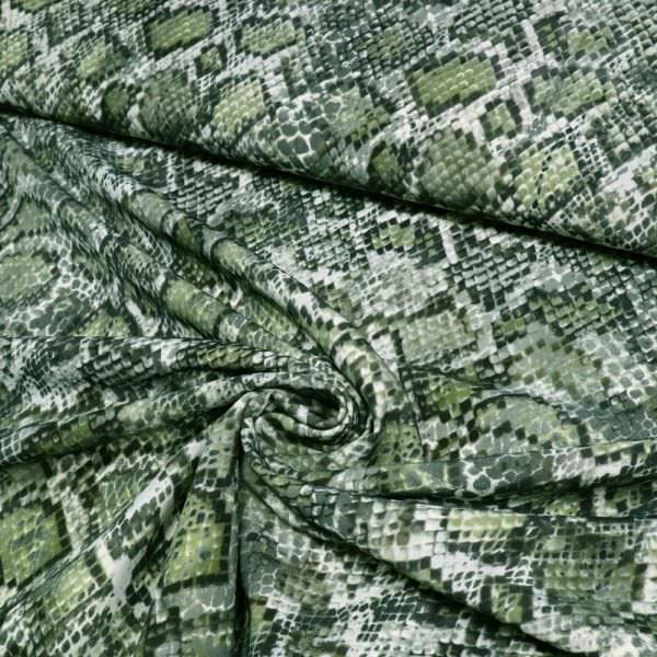 Powerstretch mit Schlangenmuster - wollweiss/schilfgrün/grau/schwarz