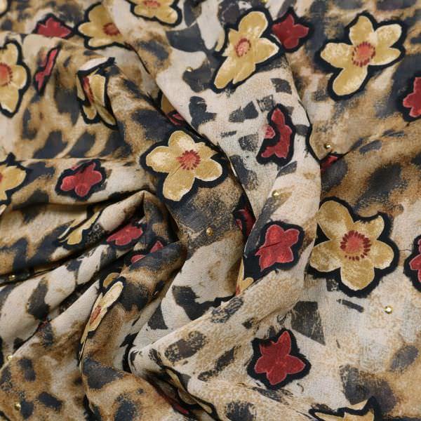 Chiffon Leomuster- Blumen-Applikation & Metall-Noppen - beige/braun/karminrot/schwarz