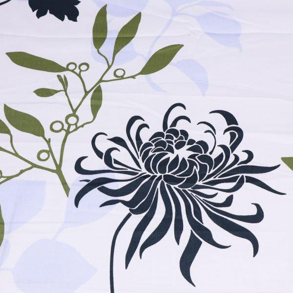 Baumwoll- Satin Chrysantheme - weiss/anthrazit/olivgrün/hellblau (Nur 70cm/breit !)