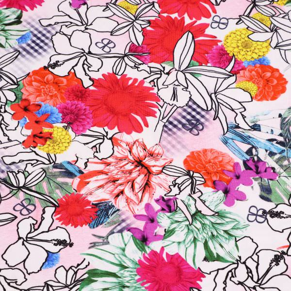 Baumwolljersey Sommerblumen - weiss/gelb/rot/fuchsia/lachs Extra breit !
