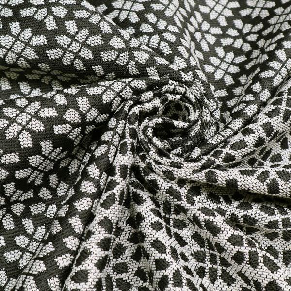 Jacquard Stoff mit Lurex&Muster - anthrazit/wollweiss/silber