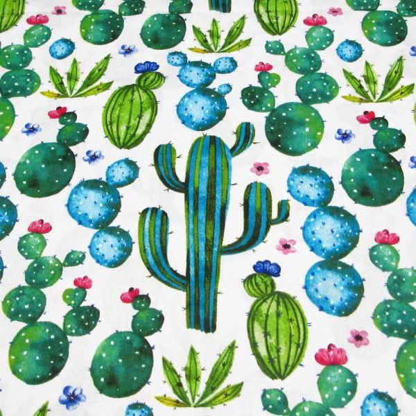 Baumwollstoff Kaktus - weiss/türkis/fuchsia/grün Öko-Tex Standard 100