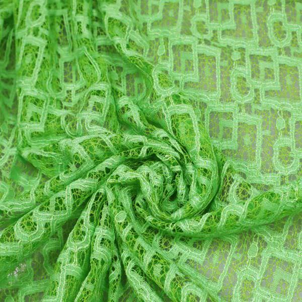 Baumwoll- Spitzenstoff Geometrische Muster - hellgrün/kiwi