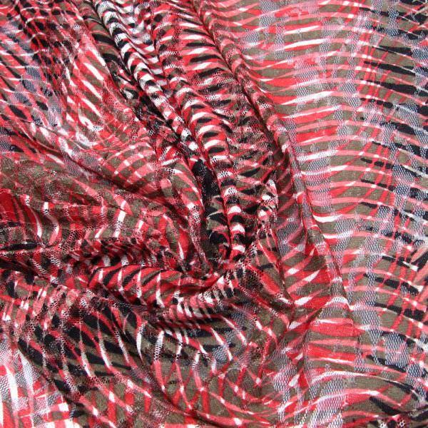 Stretch Spitze Linien & Blumen-Motiv - rot/braun/weiss/schwarz