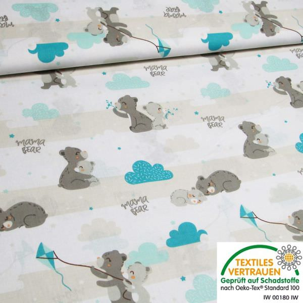 Kinderstoff Baumwollstoff Mama Bär - weiss/beige/türkis/grau Öko-Tex Standard 100
