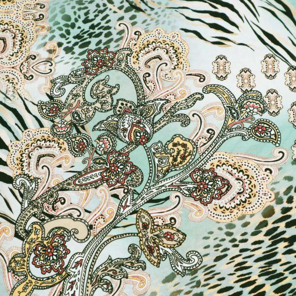 Viskosestoff Tiger-Leoparden-Paisley Muster - mintgrün/beige/aprocot/braun/schwarz