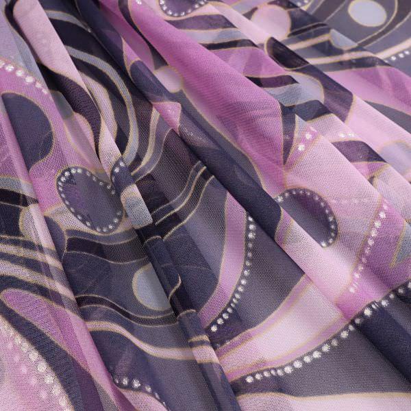 Weichtüll (Mesh) mit Glitzer & Paisleymuster - violett/flieder/taubenblau/silber