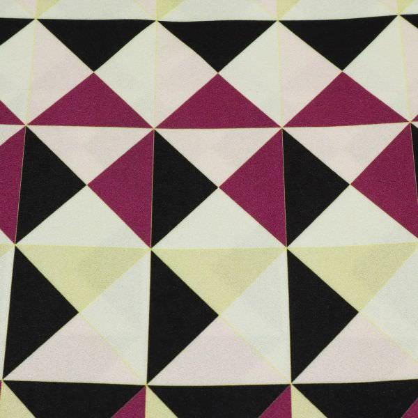 Viskose Crêpe Georgette Geometrische Muster - wollweiss/rosé/brombeere/schwarz