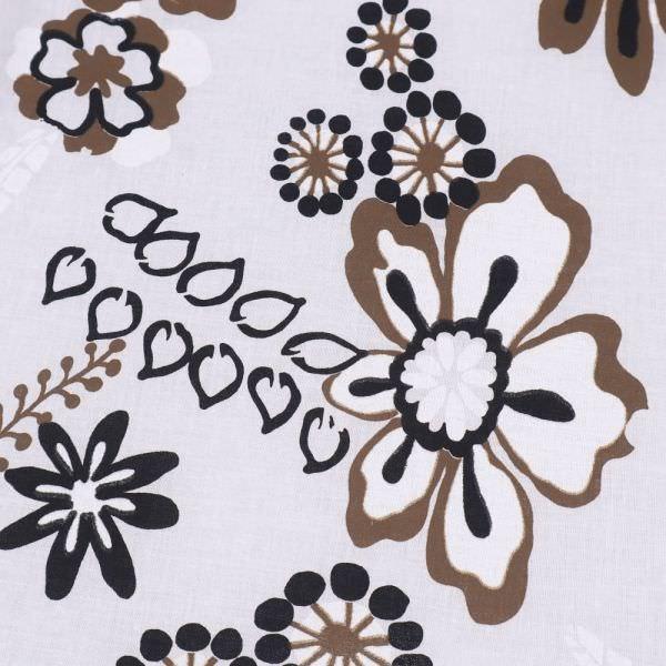 Baumwollstoff Blumen & Blätter - wollweiss/braun/schwarz