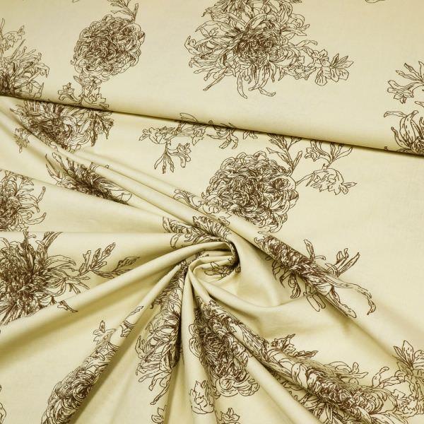 Baumwollstoff Chrysanthemen - beige/braun