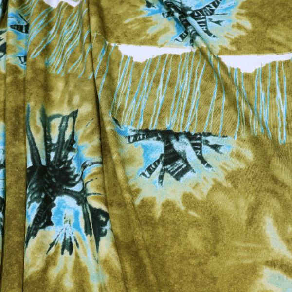 Feinjersey Batik-Motiv PANEL - khaki/türkis/beige/schwarz