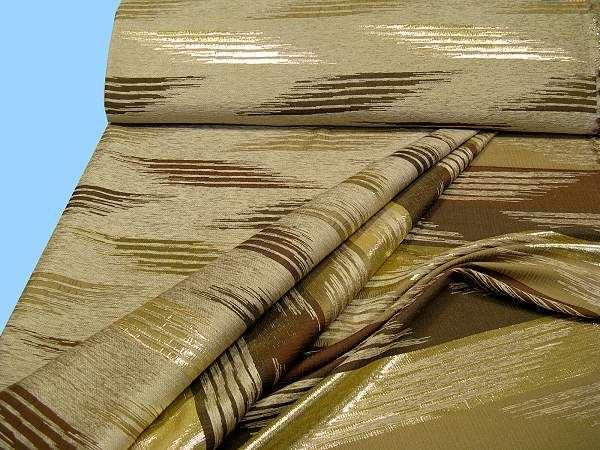 Kostümstoff mit Chenille- Muster und Lurex - beige/braun/gold