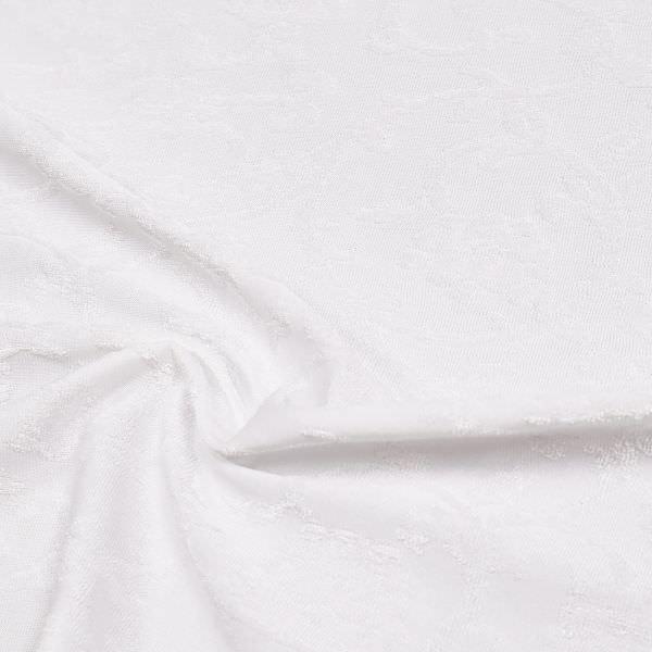 Jersey mit Frottee- Blumenranken uni - weiss