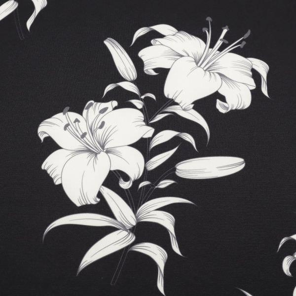 Scuba Jersey Lilien - schwarz/wollweiss