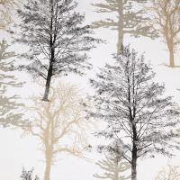Dekostoff Baumwollstoff Bäume - weiss/beige/grau/schwarz Öko-Tex Standard 100