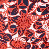 Baumwolljersey Fantasie Blumen - wollweiss/rot/nachtblau Extra breit !