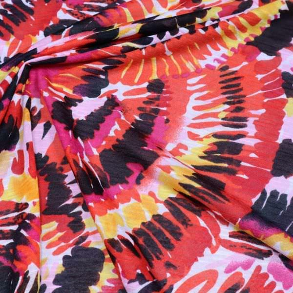 Feinjersey African Print - weiss/rot/fuchsia/gelb/schwarz