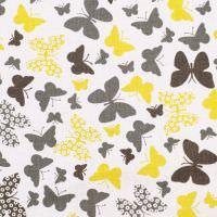 Baumwollstoff Schmetterlinge - weiss/gelb/grau Öko-Tex Standard 100