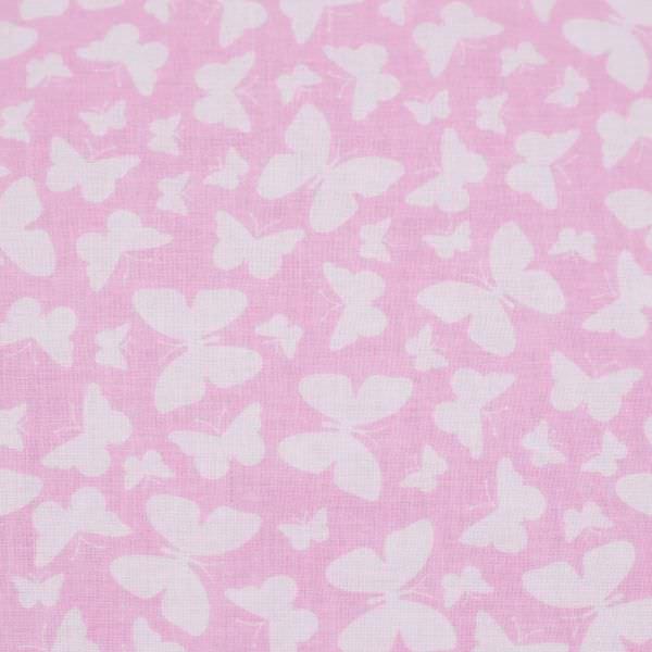 Baumwollstoff Schmetterlinge - rosé/weiss Öko-Tex Standard 100