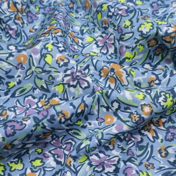 Stretch Baumwollstoff mit Blumen-Motiv - hellblau/orange/flieder/gelb/hellgrün