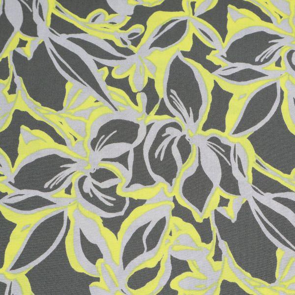 Viskosestoff Blumen - grau/gelb/hellgrau