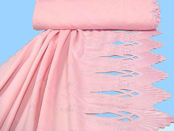 Satin mit Stickereien - rosa