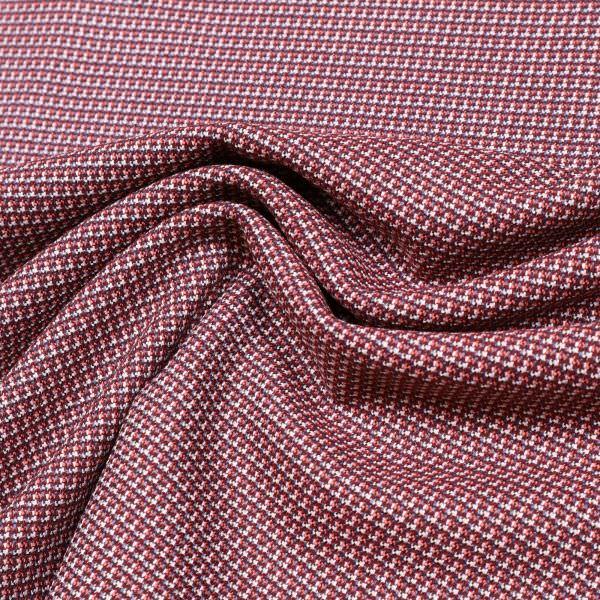 Kostümstoff Stretch Tweed - dunkelrot/lachs/beige/schwarz