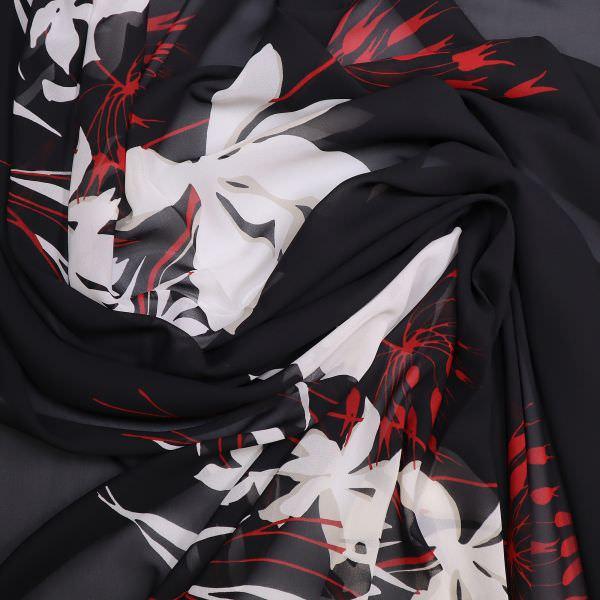 Chiffon Blumen - schwarz/weiss/grau/rot