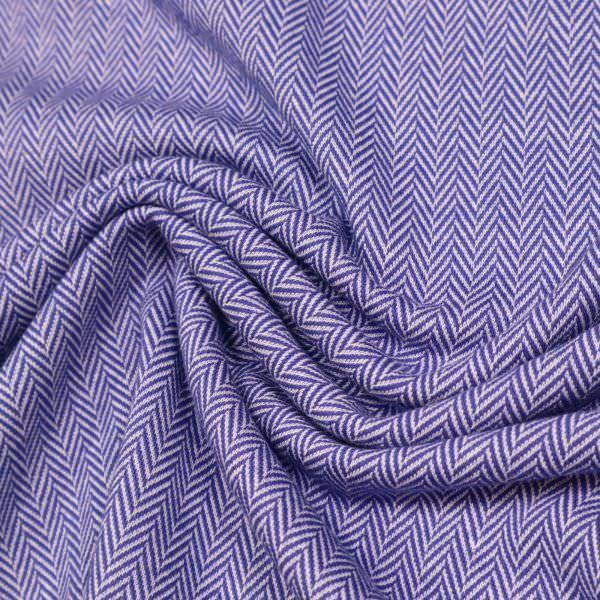 Baumwoll- Stretch Feinstrick Fischgrat - violett/weiss