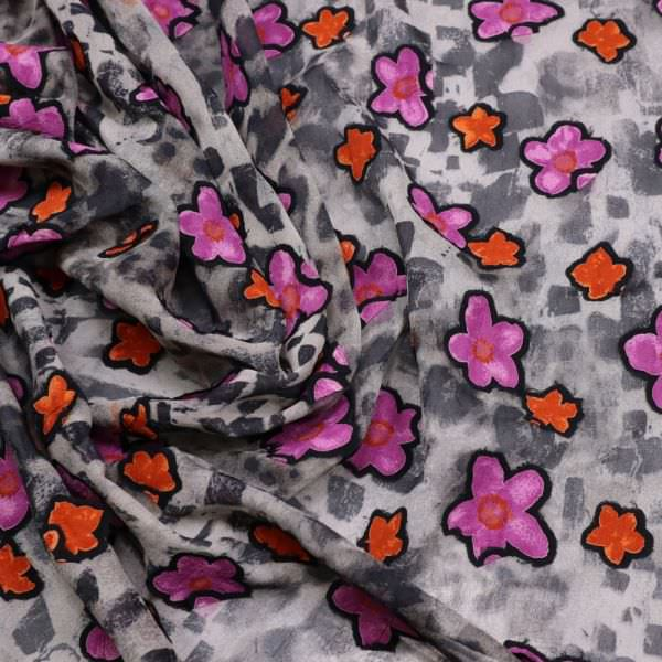 Chiffon Leopardenmuster & Blumen-Applikation - grau/violett/orange/anthrazit
