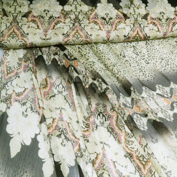 Crêpe Chiffon Ornamente & Leopardenmuster - schilfgrün/dunkelbraun/terrakotta/fuchsia