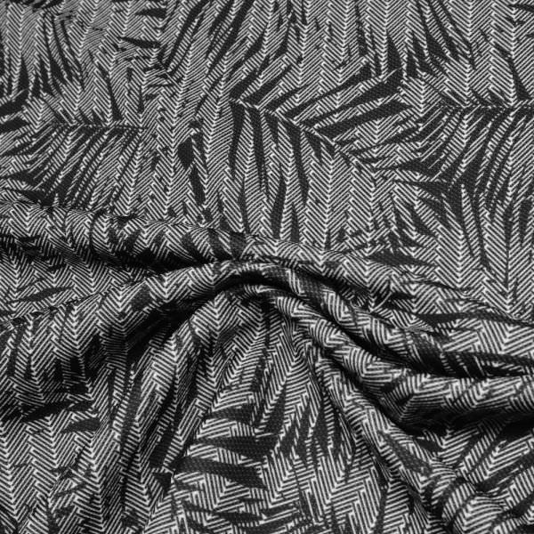 Piqué Jersey Palmenblätter - schwarz/weiss