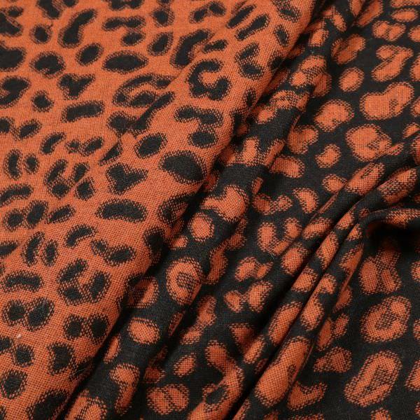 Jacken- und Mantelstoff mit Leoparden-Muster - schwarz/terrakotta