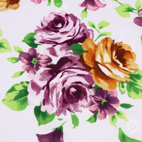 Stretch Viskosestoff Blumen & Stickerei - wollweiss/violett/rosé/terrakorra/grün
