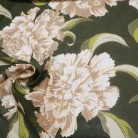 Viskose Chiffon grosse Blumen - dunkelgrün/kiwi/beige/braun