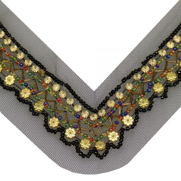 Applikation für V-Ausschnitt mit Perlen - schwarz/gold/multicolor