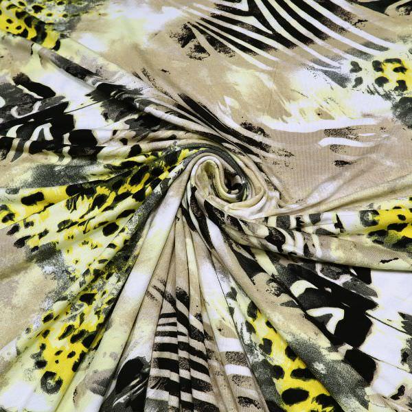 Viskosejersey Animal Print - wollweiss/gelb/beige/schwarz