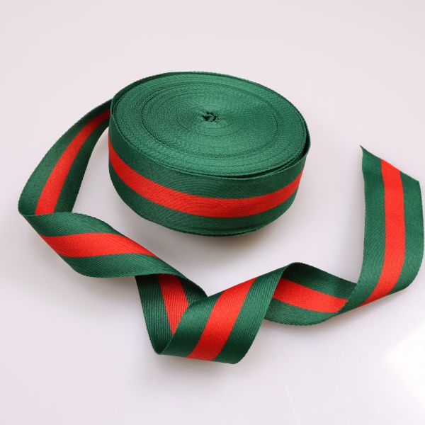 Webband Gurtband Streifen - grün/rot 4,0 cm