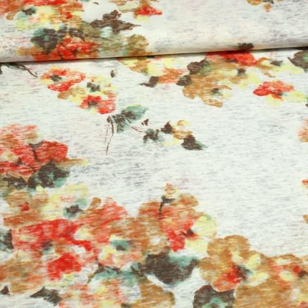 Ausbrenner-Jersey mit Blumen-Motiv - wollweiss/orange/braun/gelb