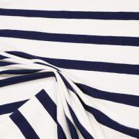 Baumwolljersey mit Querstreifen - wollweiss/nachtblau Extra breit !