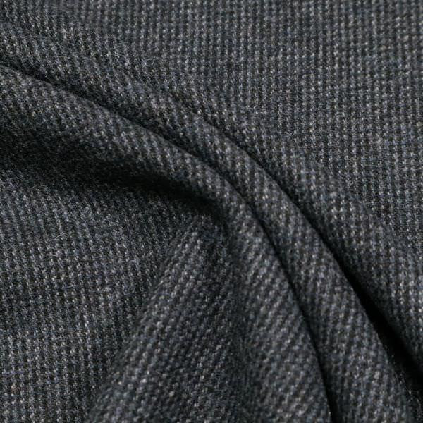 Wollstoff-Mix Melange - schwarz/nachtblau/grau