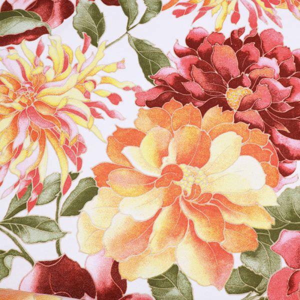 Sweatshirt Stoff grosse Blumen - weiss/gelb/lachs/bordeaux/grün Extra breit !