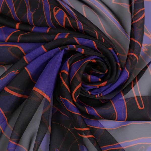 Chiffon Tropische Blaetter - schwarz/orange/dunkelblau