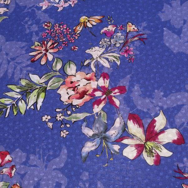 Viskosestoff mit Blumen-Motiv - blau/bordeaux/roséfuchsia/grün/wollweiss