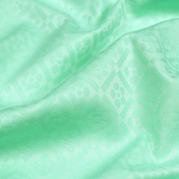 "Baumwoll- Jacquard ""Karo&Blumen"" - mintgrün"