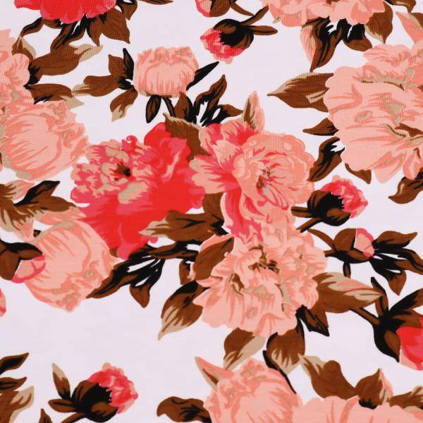 Baumwolljersey Rosen - weiss/altrosa/koralle/rot Extra breit !