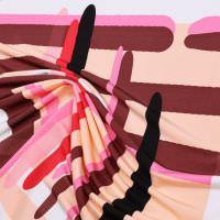 Viskose Slinky-Jersey bunte Streifen - wollweiss/lachs/rosé/fuchsia/rot/weinrot