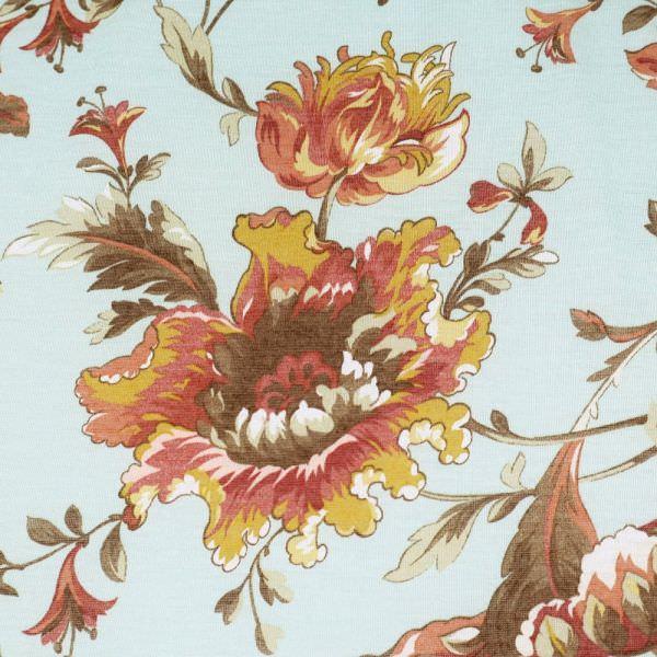 Feinjersey mit Blumen - mintgrün/altrosa/senfgelb/bordeaux/braun