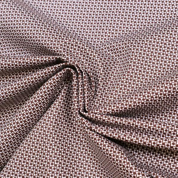 Baumwollstoff kleines Muster - wollweiss/braun