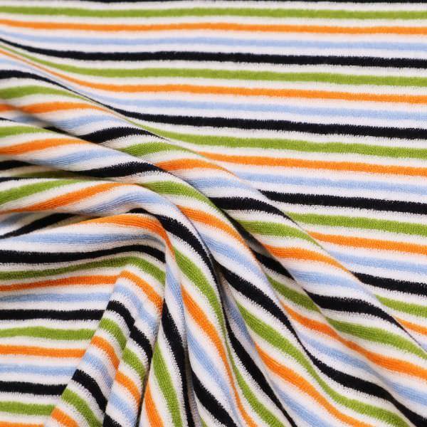Stretch Frottee-Jersey Querstreifen - weiss/hellblau/orange/kiwi Extra breit !